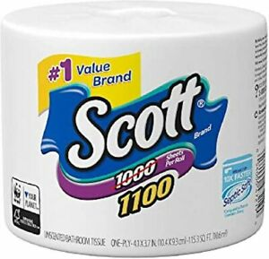 Lot 4 Scott Brand Toilet Tissue Single Ply 1100 Sheets per Roll 4 Rolls included