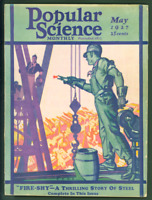 Popular Science Monthly Magazine May 1927 Art Deco Ship Skyscraper Riveter Cover