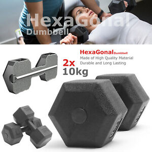 10kg Portable Hand Dumbbell Set Hex Dumbbells in Pair Home Gym Aerobic Training