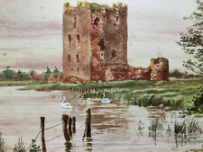 Antique Watercolour Castle & Swans signed M Stuart