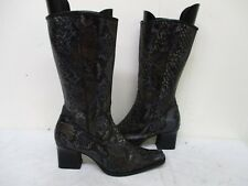 NINE WEST Snake Leather Zip High Heel Mid Calf Boots Womens Size 7.5 M Italy