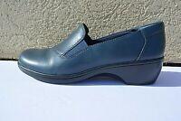 Clarks Bendables Womens Blue Leather Slip On Walking Comfort Loafer Shoes 8,5 M