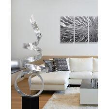 """Sea Breeze"" Large Modern Abstract Metal Art Decor Outdoor Sculpture Silver"