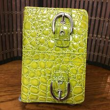 clutch green faux leather reptile embossed small H9