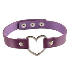 Fashion Punk Gothic PU Leather Choker Heart Chain Buckle Collar Necklace Jewelry