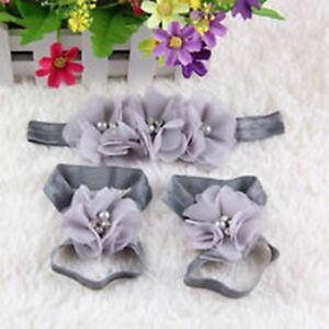 Newborn Baby Kids Girls Flower Headband Hair Band Headdress Foot Flower A03
