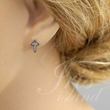 Cubic Zirconia 925 Sterling Silver Cross Stud Earrings With Micro Pave 02945