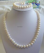 Genuine solid silver 8-9mm 4A outstanding lustre freshwater pearl set 4pcs L46cm