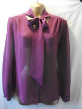 LADIES NWoT Tu 10 CLARET CHIFFON/V-NECK+LONG TIES/LONG SLEEVED/CASUAL BLOUSE