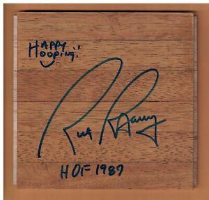 RICK BARRY AUTOGRAPHED 6X6 BASKETBALL FLOORBOARD SIGNED GOLDEN STATE HOF 1987