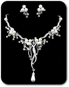 Set Necklace Earrings Jewelry Bride Pearls Rhinestone Wedding