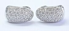 18Kt Pave Diamond White Gold Huggie Earrings 1.10Ct 19mm