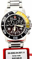 Swiss Military Hanowa acero inoxidable chronograph Chrono reloj nuevo checkerboard amarillo G