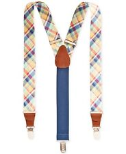 $75 Club Room New Men'S Blue Yellow Plaid Braces Clip-End Adjustable Suspenders