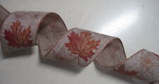 """10 yds FALL LEAVES 2 1/2""""  Wired Ribbon Wreath Wedding Crafts Party"""