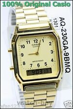 AQ-230GA-9B  Casio Watch Dual Time Gold Analog Digital Steel Band Classic Alarm