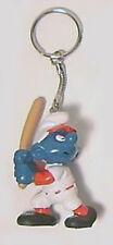 Vintage 1980's Baseball Smurf PVC Figure Keychain