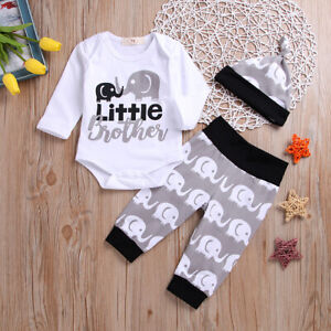 ❤️ Newborn Baby Boy Little Brother Romper Tops Long Pants Hat Clothes Outfit Set