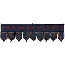 Vintage Patchwork Window Valance Toran Indian Cotton Embroidered Door Hanging