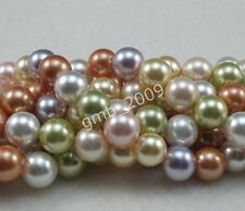 """8mm 10mm 12mm Natural Multicolor South Sea Shell Pearl Loose Beads Strand 15""""AAA"""