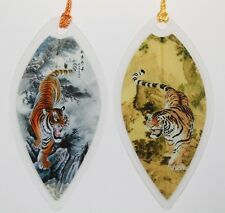 Asian Tiger Painting Leaf Bookmarks - Made of Real Leaves - 2 Pcs Book Markers