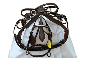 NEW LEATHER CART DRIVING HARNESS BROWN COLOR, BRASS FITTING FULL, COB, PONY, SLD