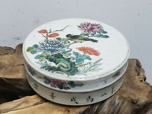 Fine Porcelain Famille Rose Hand Painted Jewelry Box/ Black Ink Box