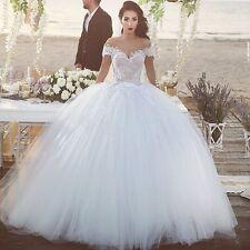 White/Ivory Lace Ball Gown Short Sleeve Wedding Bridal Dress Custom Size 6+8+16+