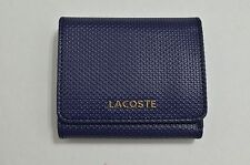 Lacoste Wallet Medium Trifold Coated Textured Leather Black, Blue, Pink, Gold