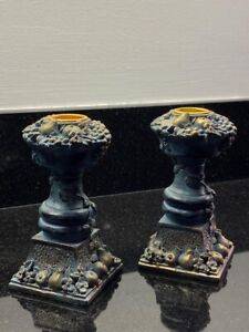Set of 2 Pillar Candle Sticks Holders 12 Cm Rustic  Candlesticks Pre-loved !!!!