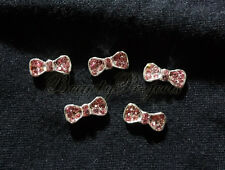 (5pcs) pink bow 3D diamond rhinestone nail art charms for nails acrylic gel A06