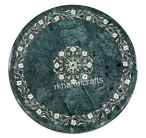 30 Inches Stone Inlay Work Dinette Table Top Round Shape Coffee Table Home Decor