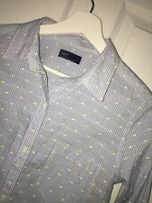 Women's GAP COTTON SHIRT LONG SLEEVE BLUE WHITE STRIPE NEON STITCH DOTS Sz S