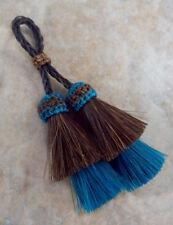 Horse Hair Tassels/Show Rich Chestnut Brown / Teal horsehair tassel double layer
