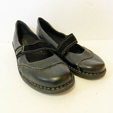 Clarks Women's Black Leather Suede Strap Mary Jane Comfort Shoes 8M Euc
