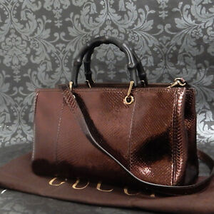 Rise-on GUCCI Python Leather Bronze Bamboo 2Way Shoulder Bag Tote Bag #73