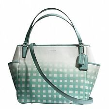NWT Coach Gingham Saffiano Leather Baby Bag Tote 30342 Silver/White/Duck Egg