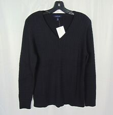 Womens LANDS END Blue Cable Knit V-Neck Pullover 100% Cotton Sweater Size Large