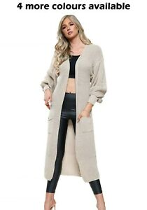 Women Ladies Balloon Sleeve Cosy Pocket Long Knitted Cardigan
