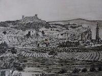 """Karl-Heinz Böhme (XX) - Radierung: """" Dorf in Spanien mit Weinanbau """""""
