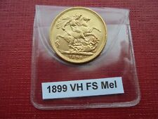 More details for 1899 victoria veiled head gold full sovereign 22 carat melbourne mint