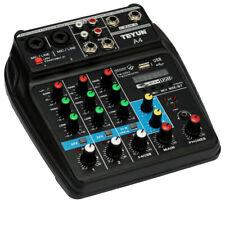 4 Channels Audio Mixer Sound Mixing Console USB Record DJ Mixer Bluetooth A3Q0