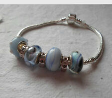 Beaded Charm Bracelet ~ European Beads ~ Sky Blue