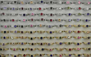 35pcs Wholesale Mixed Lots Round Cubic Zirconia Lady's Copper Adjustable Rings