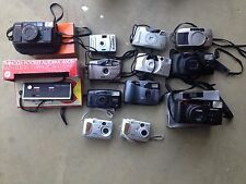 Lot of 13 Vintage Point & Shoot Cameras - Olympus Minolta Kodak HP Pentax Canon