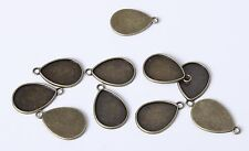 10pcs 26mm Tear Drop Antique Bronze Bezel Cameo Pendant Cabochon Setting