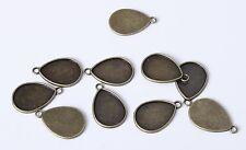 10x 26mm tear drop Bronze Antique Cadre Cabochon pendentif Cameo cadre