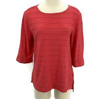 Habitat T Shirt 3/4 Sleeve Cuffed Boatneck Top Orange-Pink Tee Womens Size Small