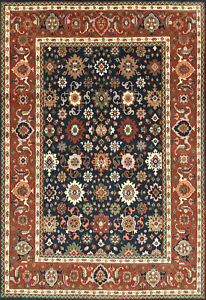 Oriental Mahal Rug, 10'x14', Blue/Red, Hand-Knotted Wool Pile