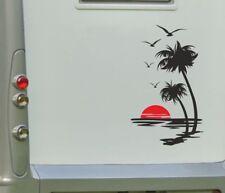 Aufkleber Wohnwagen Wohnmobil Caravan Camper Auto Palme Sonne Strand 2farbig 153